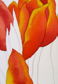 The Painted Prism: WATERCOLOR PROJECT, STEP-BY-STEP: Red Tulips with Black Background