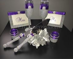 Silver with BLING and Purple 8pc Wedding Set by ExotiqueCreations