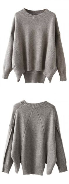 Gray Drop Shoulder Back Slit Long Sleeve Jumper