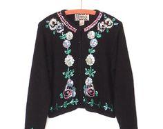 90s Sweater * Embroidered Cardigan Sweater * Sequins & Beaded Cardi * Medium
