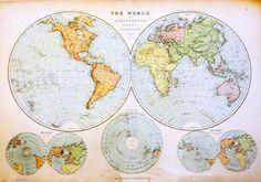 Antique 19thC Blackies Atlas World Hemispheres On Various Projections Map 1880s - Ebay 99p