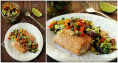#Healthy Recipe: Oven Baked Salmon with Bell Pepper Salsa #lowcarb, #paleo, #primal