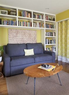 overhead bookshelves for extra storage, sleeper sofa?, add desk for office/guest room/ library combo