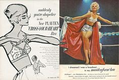 """MAD MEN Real World Ad: Suddenly you're shapelier in the new PLATEX """"Cross-Your-Heart"""" Bra!"""