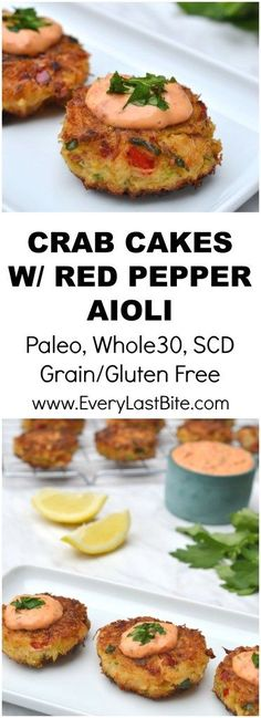 Cakes with Roasted Red Pepper Mayonnaise Delicious crab cakes that are crisp on the outside and packed with crab and herbs in the middle. (Paleo, Grain/Gluten Free, SCD, Dairy Free)Whole number Whole number may refer to: Crab Recipes, Paleo Recipes, Appetizer Recipes, Cooking Recipes, Recipes Dinner, Seafood Appetizers, Cooking Fish, Pescatarian Recipes, Cooking Ingredients