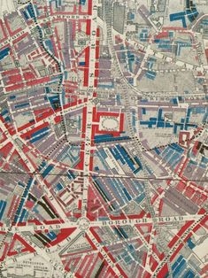 """""""Maps Descriptive of London Poverty, by the British philanthropist Charles Booth. These maps are part of a 12 volume set in which he colored in each block of a set of Ordnance Survey maps from 1897 Vintage Maps, Antique Maps, Map Design, Graphic Design, Urban Mapping, Bel Art, Ordnance Survey Maps, Map Quilt, London Map"""