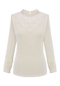 White Lotus-Lace Knitted Top