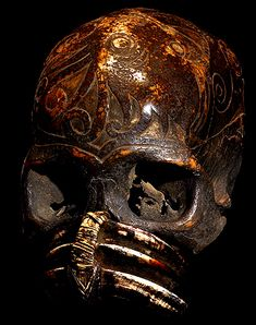 DAYAK CARVED AUTHENTIC HUMAN SKULL