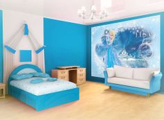 Best 13 Beautiful Princess Wallpaper For Your Teen Girl Bedroom Changing the atmosphere of your girl's bedroom is no problem. But do you already have the inspiration to determine the right wallpaper for your daught. Frozen Bedroom Decor, Disney Frozen Bedroom, Frozen Room, Disney Bedrooms, Frozen Theme, Small Room Bedroom, Girls Bedroom, Small Rooms, Disney Poster
