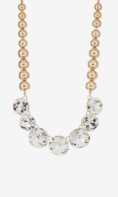 Natasha Accessories | Round Bead & Rhinestone Statement Necklace