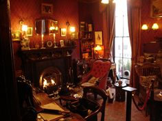 Sherlock Holmes' Study Sherlock Holmes is of course a fictional character, but that hasn't stopped folks from recreating his office from the descriptions given by his creator. There is one at the Sherlock Holmes Museum at Baker Street: Sherlock Holmes, Baker Street, Shoe Shine Box, Art Of Manliness, Study Office, Man Room, Famous Men, Famous People, Victorian Homes