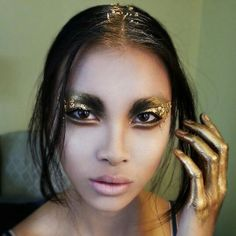 Gold leaf eye makeup