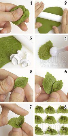 Cómo hacer hojas de menta con pasta de modelar mexicana