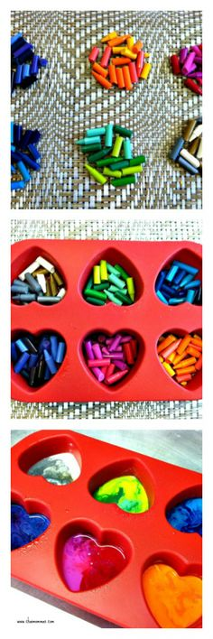 diy valentine's day craft: multi-colored heart crayons