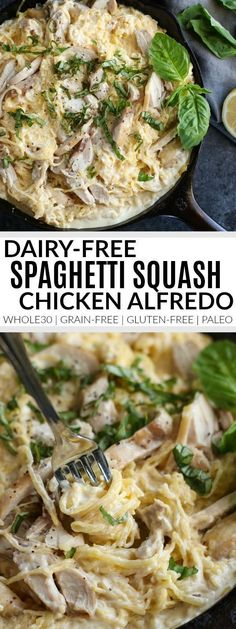 Nice Dairy-Free Spaghetti Squash Chicken Alfredo Sub out chik'n or put in broccoli and peas instead for vegan. The post Dairy-Free Spaghetti Squash Chicken Alfredo Sub out chik'n or put in broccoli … appeared first on Emmy's Designs . Whole30 Dinner Recipes, Gluten Free Recipes For Dinner, Paleo Dinner, Dinner Healthy, Dairy Free Recipes Healthy, Dairy Free Zoodle Recipes, Dairy Free Recipes Chicken, Healthy Dinners, Yummy Healthy Dinner Recipes