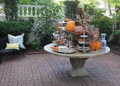 Throw a Fall Fete! The air is cool, there aren't as many bugs, and the shorter days mean you can add lots of candlelight to make your outdoor dining room magical. Don't be afraid to use your beautiful pieces outside. Set your table with your fine silver serving pieces, crystal and china. The juxtaposition of the refined and rustic is a pillar of the Nell Hill's look.