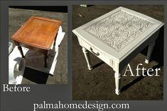 Tin Ceiling Tile look alike! DIY end table redo! Treasured Rubbish: Tin ceiling tile/textured wallpaper End Table Refurbished Furniture, Furniture Makeover, Painted Furniture, Refurbished End Tables, Tin Tiles, Tin Ceiling Tiles, Furniture Projects, Diy Furniture, Furniture Stores