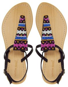 Image 1 of London Rebel Aztec Beaded Leather Flat Sandal Leather Sandals Flat, Flat Sandals, Flip Flop Sandals, Flats, Flip Flops, Fashion Shoes, Fashion Accessories, Teen Fashion, Summertime Madness