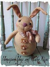 Primitive Bunny Rabbit Doll ♥ Homespun Hugs and Calico Kisses
