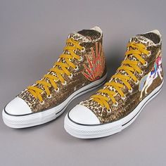Fully Beaded High Top Converse Shoes