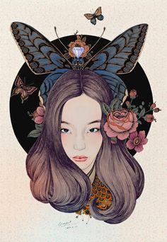 Vivid Illustrations Depict Dynamic Scenes of Nature and East Asian Mythology by RLoN Wang Graffiti, Art Et Illustration, Flowers In Hair, Love Art, Japanese Art, Life Is Beautiful, Illustrators, Fantasy Art, Art Drawings