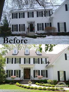 House Exterior Before And After Porch Addition Curb Appeal For 2019 Colonial House Exteriors, Colonial Exterior, Exterior Design, Colonial House Remodel, Modern Colonial, Traditional Exterior, House With Porch, House Front, Style At Home