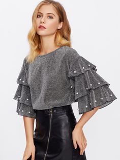 SHEIN offers Pearl Beading Tiered Sleeve Glitter Top & more to fit your fashionable needs. Glitter Fashion, Grey Fashion, Fashion Outfits, Women's Clothing Fashion, Work Fashion, Fashion Fashion, Fashion Ideas, Casual Outfits, Blouse Styles