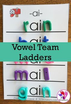 Free Fun Hands-On Vowel Team Ladders - 6 pages of printables - 3 Dinosaurs Word Study Activities, Vowel Activities, Spelling Activities, Kindergarten Activities, Literacy Games, Listening Activities, Children Activities, Early Literacy, Reading Games