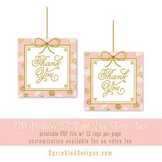 Printable Thank You Favor Tags Labels - Blush Pink Gold Glitter Confetti Dots Girl First Birthday - The Big One - INSTANT DOWNLOAD by SprinkledDesigns.com