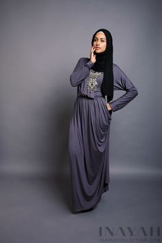 Charcoal Wrap Abaya + Black Jersey Hijab   | INAYAH www.inayahcollection.com