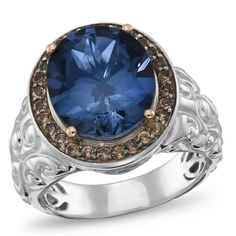 Sterling Silver and 14K Gold Lab-Created Blue Sapphire, Smoky Quartz, and Diamond Fashion ring. Part of the Matisse Collection. Bold Use of color. Intricate. Handcrafted Settings are why this collection is named after an artist.