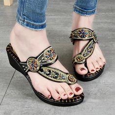 24a1eda66d4 Prettymia Bohemia Ethnic Style Thong Platform Sandals