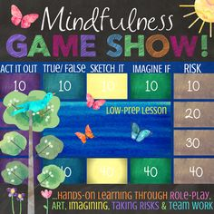 What do you get when you combine role playing, drawing, imagination, experiential mindfulness activities and team collaboration? The Mindfulness Game Show! This FuN!, LOW-PREP, EDITABLE, interactive lesson & game can be used as a stand-alone classroom lesson about Mindfulness, as an introduction to mindfulness, or