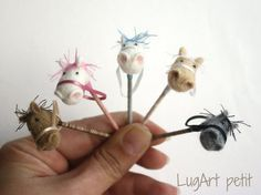 Needle felted STICK HORSES for dollhouse by LugartPetit