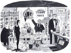 The Addams' at the thrift shop! Addams Family Cartoon, Addams Family Quotes, Die Addams Family, Adams Family, Cartoon Familie, Charles Addams, Beautiful Dark Art, New Yorker Cartoons, Victorian Goth