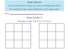Maths Puzzle: challenge pupils to complete a magic square using only the numbers provided. Created by Magic Squares Math, Maths Puzzles, Primary Maths, Numeracy, Math Resources, Numbers, Challenge, Math, Math Puzzles Brain Teasers