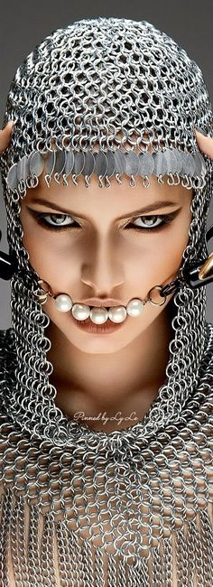 Metal Fashion, Grey Fashion, Chainmaille, Shades Of Grey, Heavy Metal, Portrait Photography, Glamour, Eyes, Face