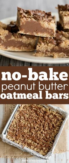 Easy and so good, these no-bake peanut butter oatmeal bars are one of the first cookies that my kids learned to make. The perfect dessert recipe for kids to make because there is no cooking needed, and this cookie bar recipe is always a hit! Delicious Cookie Recipes, Best Dessert Recipes, Yummy Cookies, Sweet Recipes, Yummy Food, Bar Recipes, Desert Recipes, Cake Cookies, Peanut Butter Oatmeal Bars