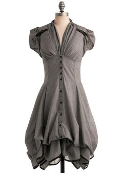 Studio Sweetheart Dress - Grey, Checkered / Gingham, Pockets, Ruffles, A-line, Maxi, Short Sleeves, Long, Vintage Inspired, 40s, Steampunk, Cotton