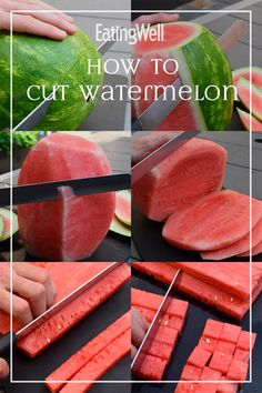 How to Cut Watermelon This step-by-step guide shows you the best way to cut a watermelon for salads, smoothies, margaritas, gazpacho and more. Plus, learn how to tell if a watermelon is ripe and find out the best way to store it after it's cut. Clean Eating Snacks, Healthy Snacks, Healthy Recipes, Fruit Snacks, Healthy Cooking, Watermelon Recipes, Fruit Recipes, Snacks Recipes, Egg Recipes