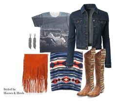 """""""Orange Fringe"""" by horsesandheels ❤ liked on Polyvore featuring LE3NO, Topshop and cowboyboots"""