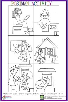Postman Sequencing Worksheet There is a kid who wants to write a letter to his grandma. Let's help him to write and send the letter. Story Sequencing Worksheets, Sequencing Pictures, Social Studies Worksheets, Sequencing Activities, Preschool Printables, Kindergarten Worksheets, Worksheets For Kids, Community Helpers Kindergarten, Community Helpers Worksheets
