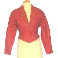 Vintage Red Leather 1980s  Jacket Slouchy Cropped Snake Print  #CHI