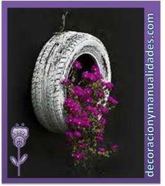 decoracion de plantas con llantas reciclables