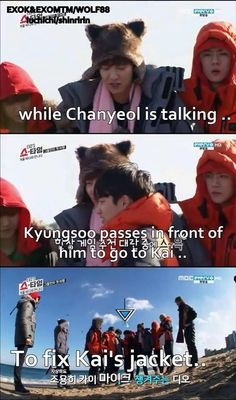 While Chanyeol is talking, Kyungsoo passes by in front of him to fix Jongin's jacket.
