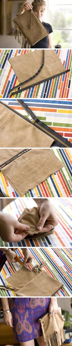 fácil de gamuza DIY clutch - good instructions for inserting both a zip and tassels for a trendy look!DIY clutch - good instructions for inserting both a zip and tassels for a trendy look! Diy Clutch, Diy Purse, Clutch Purse, Foldover Clutch, Sewing Tutorials, Sewing Projects, Sewing Patterns, Bag Tutorials, Purse Patterns