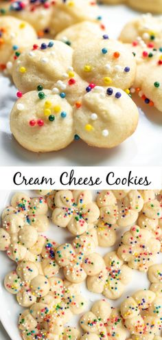 These easy Cream Cheese Cookies are soft, delicious cookies that are perfect for Easter, Mother's Day, or Christmas! Make these pretty little cream cheese cookies with a cookie press and top with. Easy Cookie Recipes, Cookie Desserts, Baking Recipes, Dessert Recipes, Easy Spritz Cookie Recipe, Simple Cookie Recipe, Spritz Cookie Press, Easy Christmas Cookie Recipes, Dessert Blog