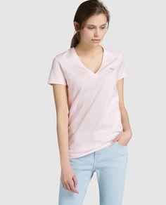Camiseta de mujer Lacoste de manga corta en color rosa