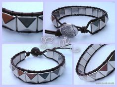 Handcrafted Leather Single Wrap Bracelet - Pyramid Squares Silver