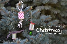 Wooden Spool Christmas Ornaments #upcycle #christmas #ornaments #thrifting
